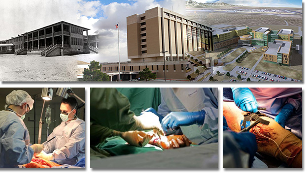 hospitals old and new and orthopedic surgeries collage image